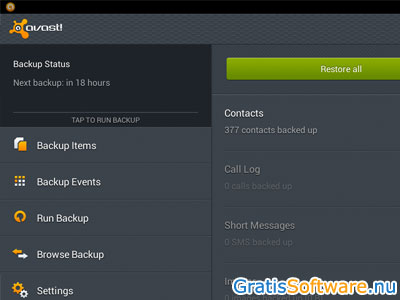 Avast Mobile Backup Restore screenshot