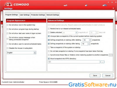 Comodo Time Machine screenshot