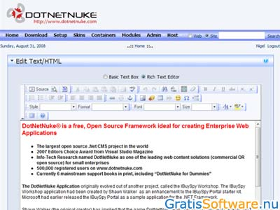 DotNetNuke screenshot