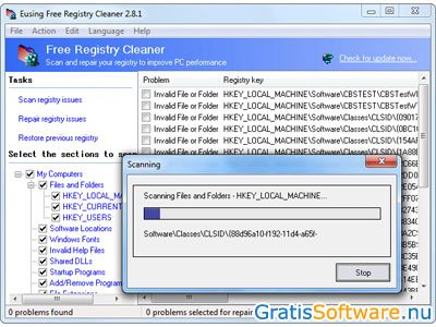 Eusing Free Registry Cleaner screenshot