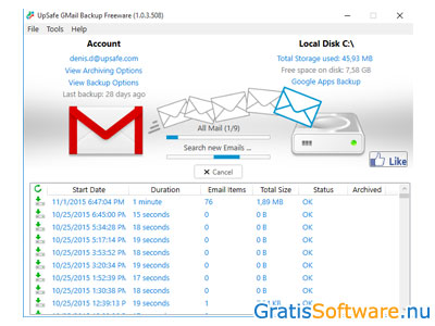 Free Gmail Backup screenshot