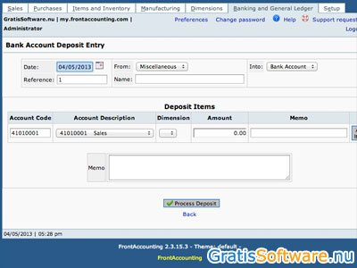 FrontAccounting screenshot