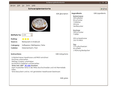 Gourmet Recipe Manager screenshot