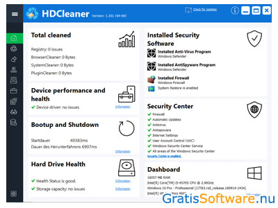 HDCleaner screenshot