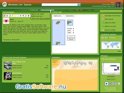 Windows Live Spaces screenshot