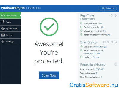 screenshot Malwarebytes' Anti-Malware