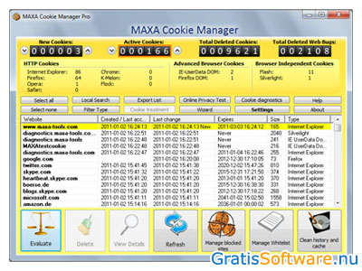 MAXA Cookie Manager screenshot