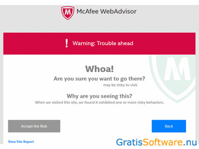McAfee WebAdvisor screenshot