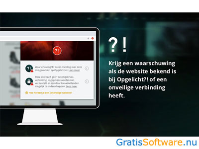 Opgelicht website alert screenshot