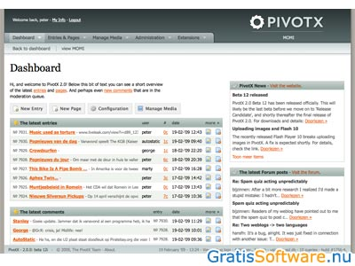PivotX screenshot