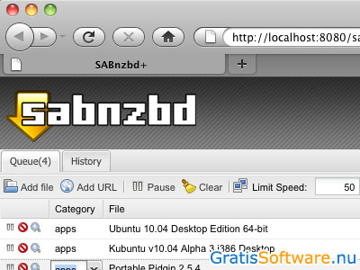 SABnzbd screenshot