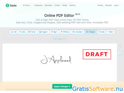 Sejda PDF Editor screenshot