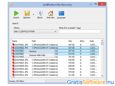 Softperfect File Recovery screenshot