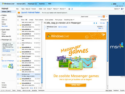 Windows Live Hotmail screenshot