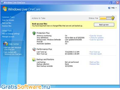 Windows Live OneCare Scanner screenshot